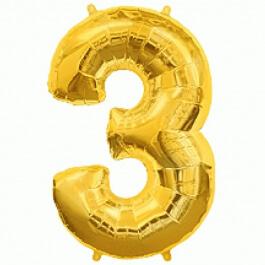 """Νούμερο """"3"""" μεγάλο - Flexmetal - χρυσό - 7917631"""