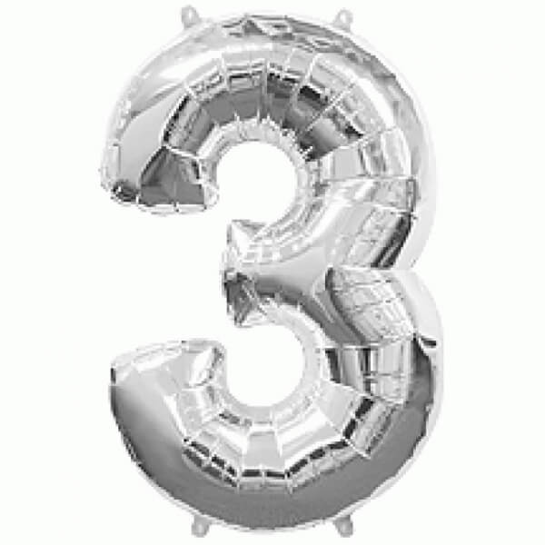 """Νούμερο """"3"""" μεγάλο - Flexmetal - ασημί - 7917632"""