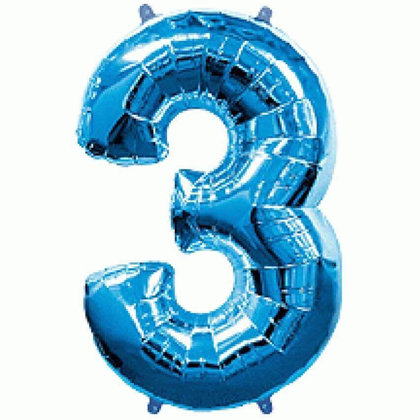 """Μπαλόνι αριθμός Νούμερο """"3"""" μεγάλο - Flexmetal - μπλε"""