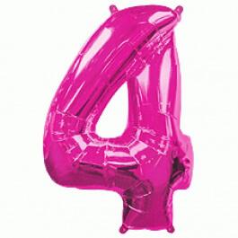 """Μπαλόνι αριθμός Νούμερο """"4"""" μεγάλο - Flexmetal - φούξια - Κωδικός: 7917643 - Flexmetal"""