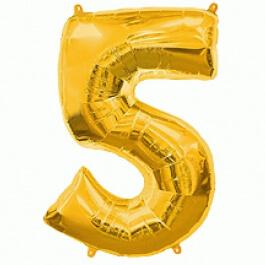 """Νούμερο """"5"""" μεγάλο - Flexmetal - χρυσό - 7917651"""