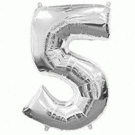 """Νούμερο """"5"""" μεγάλο - Flexmetal - ασημί - 7917652"""