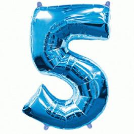 """Μπαλόνι αριθμός Νούμερο """"5"""" μεγάλο - Flexmetal - μπλε - Κωδικός: 7917654 - Flexmetal"""
