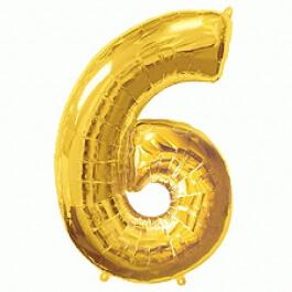 """Νούμερο """"6"""" μεγάλο - Flexmetal - χρυσό - 7917661"""