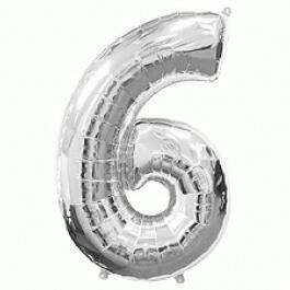"""Νούμερο """"6"""" μεγάλο - Flexmetal - ασημί - 7917662"""