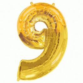 """Νούμερο """"9"""" μεγάλο - Flexmetal - χρυσό - 7917691"""