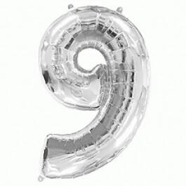 """Νούμερο """"9"""" μεγάλο - Flexmetal - ασημί - 7917692"""