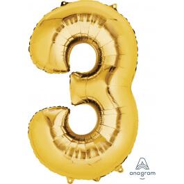 """Νούμερο """"3"""" μεγάλο - Anagram - χρυσό - A2824801"""