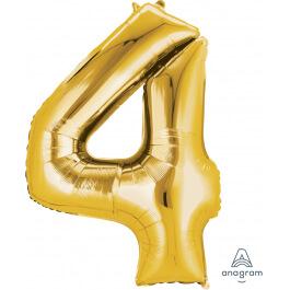"""Νούμερο """"4"""" μεγάλο - Anagram - χρυσό - A2825001"""