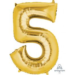 """Νούμερο """"5"""" μεγάλο - Anagram - χρυσό - A2825201"""