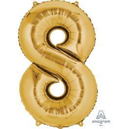 """Μπαλόνι αριθμός Νούμερο """"8"""" μεγάλο - Anagram - χρυσό - Κωδικός: A2825801 - Anagram"""