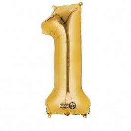 """Νούμερο """"1"""" μικρό - Anagram - χρυσό - A3307711"""