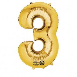 """Νούμερο """"3"""" μικρό - Anagram - χρυσό - A3308111"""