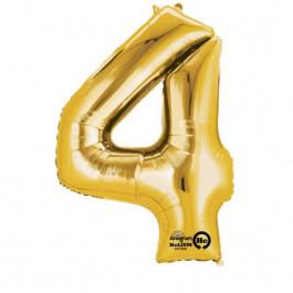 """Μπαλόνι αριθμός Νούμερο """"4"""" μικρό - Anagram - χρυσό - Κωδικός: A3308311 - Anagram"""
