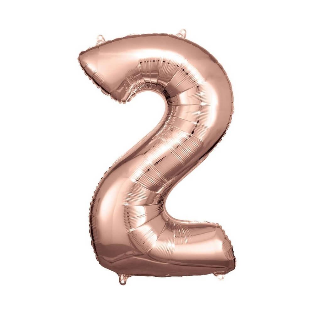 """Μπαλόνι αριθμός Νούμερο """"2"""" μεγάλο - Reithmuller - ροζχρυσό"""