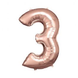 """Μπαλόνι αριθμός Νούμερο """"3"""" μεγάλο - Reithmuller - ροζ χρυσό - Κωδικός: A9906278 - Reithmuller"""