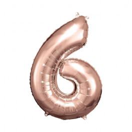"""Μπαλόνι αριθμός Νούμερο """"6"""" μεγάλο - Reithmuller - ροζ χρυσό - Κωδικός: A9906281 - Reithmuller"""
