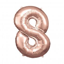 """Μπαλόνι αριθμός Νούμερο """"8"""" μεγάλο - Reithmuller - ροζ χρυσό - Κωδικός: A9906283 - Reithmuller"""