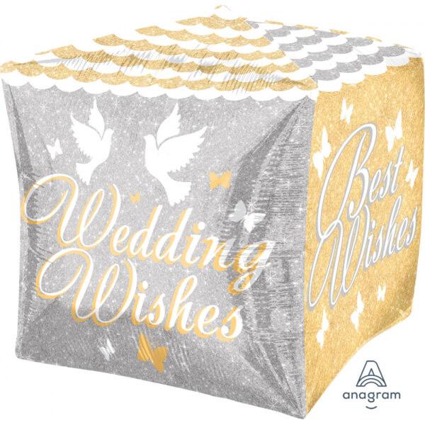 """Μπαλόνι Foil Cubez κύβος """"Shimmering Wedding Wishes"""" 40εκ - Κωδικός: A28779 - Anagram"""