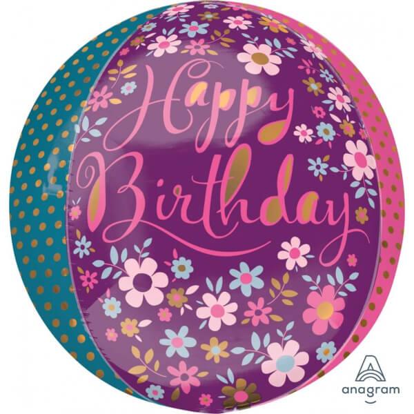 """Μπαλόνι Foil ORBZ σφαιρικό """"Daint Floral Happy Birthday"""" 43εκ. - A33313"""
