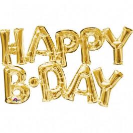 """Μπαλόνι Φράση """"Happy B-Day"""" - Anagram - χρυσό - Κωδικός: A3375901 - Anagram"""
