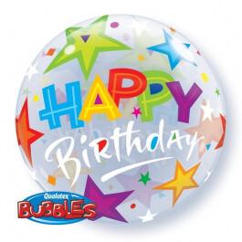 """Μπαλόνι Bubble """"Birthday Stars"""" 56εκ. - 23595"""