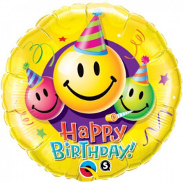 """Μπαλόνι Foil """"Birthday Smile Faces"""" 46εκ. - 29644"""