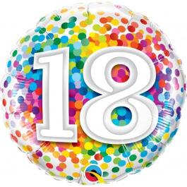 """Μπαλόνι Foil """"No18 Rainbow Confetti"""" 46εκ. - 49502"""