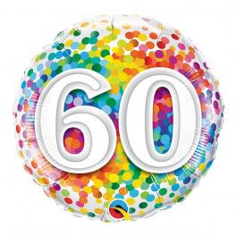 """Μπαλόνι Foil """"No60 Rainbow Confetti"""" 46εκ. - 49548"""
