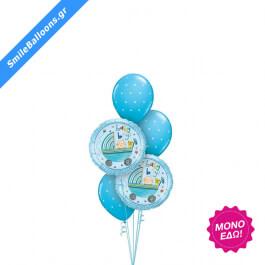 """Μπουκέτο μπαλονιών """"Baby Blue Christening"""" - Κωδικός: 9502002 - SmileStore"""