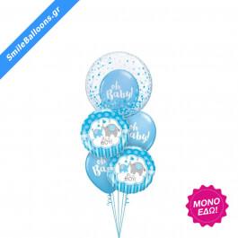 """Μπουκέτο μπαλονιών """"Baby Boy Elephants & Confetti"""" - Κωδικός: 9502005 - SmileStore"""