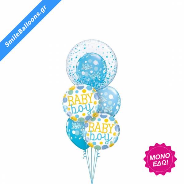 """Μπουκέτο μπαλονιών """"Baby Boy Polka Dots & Confetti"""" - Κωδικός: 9502006 - SmileStore"""