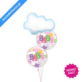 """Μπουκέτο μπαλονιών """"Baby Girl Clouds Stars Moon"""" - 9502007"""