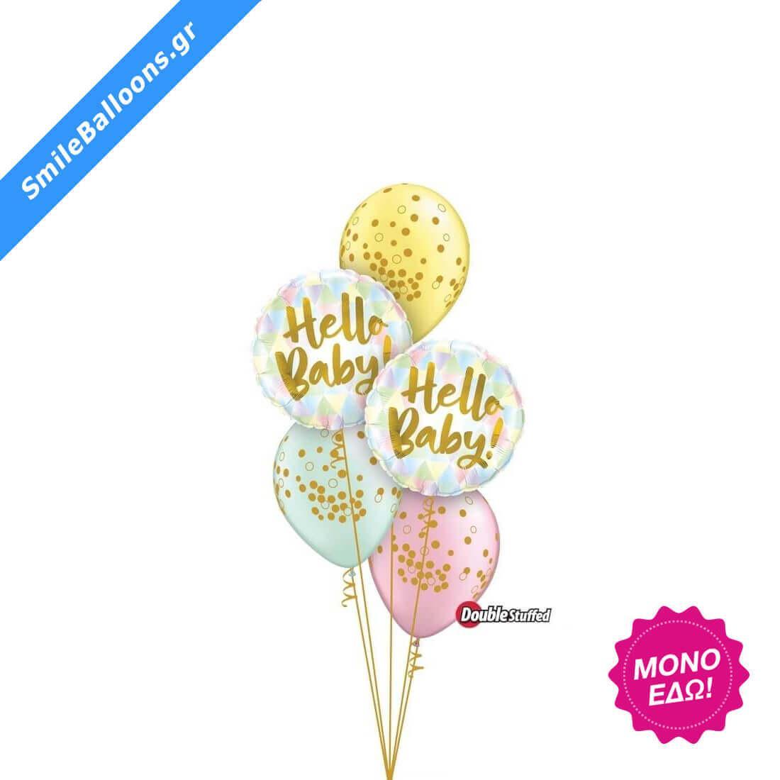 """Μπουκέτο μπαλονιών """"Hello Baby Pastel Pearl Confetti Dots"""""""
