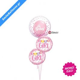 """Μπουκέτο μπαλονιών """"Oh Baby Pink Confetti"""" - Κωδικός: 9502024 - SmileStore"""