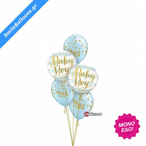 """Μπουκέτο μπαλονιών """"Pearl Light Blue Baby Confetti Dots"""" - Κωδικός: 9502028 - SmileStore"""