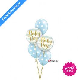 """Μπουκέτο μπαλονιών """"Pearl Light Blue Baby Polka Dots"""" - Κωδικός: 9502029 - SmileStore"""