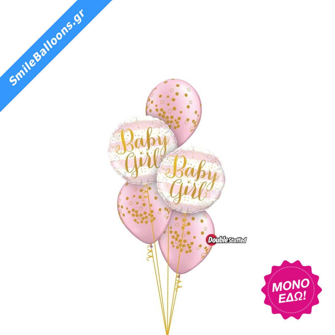 """Μπουκέτο μπαλονιών """"Pearl Pink Baby Confetti Dots"""""""