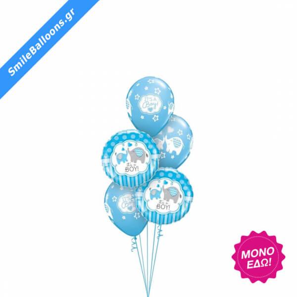 """Μπουκέτο μπαλονιών """"Sweet Blue Elephants"""" - Κωδικός: 9502038 - SmileStore"""