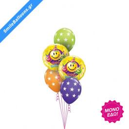 """Μπουκέτο μπαλονιών """"Birthday Smileys Stars"""" - Κωδικός: 9503037 - SmileStore"""