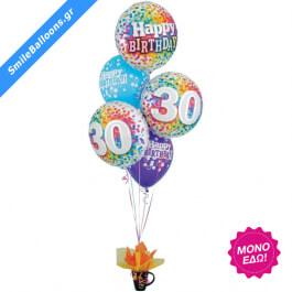 """Μπουκέτο μπαλονιών """"Rainbow Confetti 30th Birthday"""" - Κωδικός: 9503144 - SmileStore"""