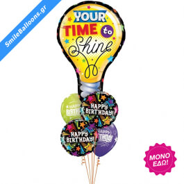 """Μπουκέτο μπαλονιών """"Shine Brightly Birthday"""" - Κωδικός: 9503148 - SmileStore"""