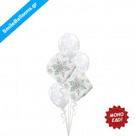 """Χριστούγεννα - Μπουκέτο μπαλονιών """"White Winter Snowflakes"""" - Κωδικός: 9504003"""