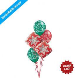 """Χριστούγεννα - Μπουκέτο μπαλονιών """"Snowflake Holiday Spirit"""" - Κωδικός: 9504009"""