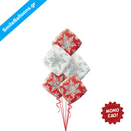 """Χριστούγεννα - Μπουκέτο μπαλονιών """"Red White Christmas Snowflakes"""" - Κωδικός: 9504016"""