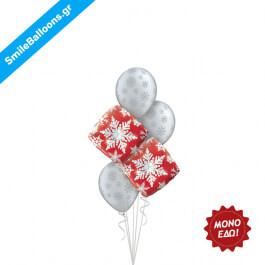 """Χριστούγεννα - Μπουκέτο μπαλονιών """"Red Silver Snowflakes"""" - Κωδικός: 9504017"""