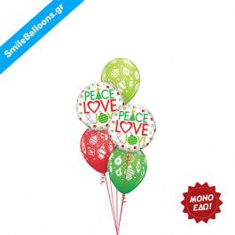 """Χριστούγεννα - Μπουκέτο μπαλονιών """"Peace Love Christmas Joy Dots"""" - Κωδικός: 9504019"""