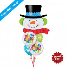 """Χριστούγεννα - Μπουκέτο μπαλονιών """"Merry Christmas Smilin Snowman"""" - Κωδικός: 9504023"""
