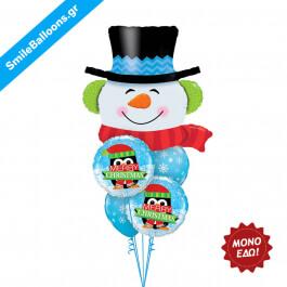 """Χριστούγεννα - Μπουκέτο μπαλονιών """"Merry Christmas Giant Snowman"""" - Κωδικός: 9504027"""