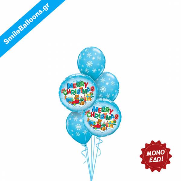 """Χριστούγεννα - Μπουκέτο μπαλονιών """"Merry Christmas Blue"""" - Κωδικός: 9504028"""